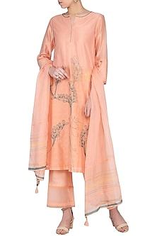 Peach Embroidered Kurta Set by Devnaagri