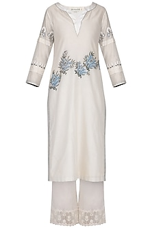 Off White Embroidered Pintuck Kurta Set by Devnaagri