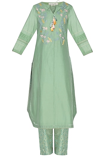 Green Embroidered Kurta With Block Printed Palazzo Pants by Devnaagri