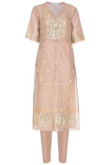 Sand Embroidered Angrakha Kurta With Pants by Devnaagri