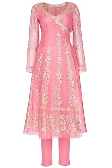 Pink Embroidered Angrakha Kurta With Pants by Devnaagri