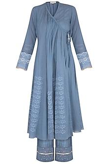 Blue Embroidered & Digital Printed Angrakha Set by Devnaagri