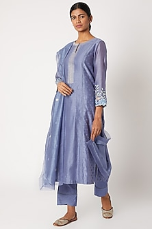 Blue Printed & Embroidered Kurta Set by Devnaagri-POPULAR PRODUCTS AT STORE