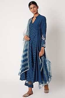 Cobalt Blue Printed & Embroidered Anarkali Set by Devnaagri-POPULAR PRODUCTS AT STORE