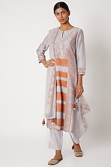 Grey Printed & Embroidered Kurta Set by Devnaagri-POPULAR PRODUCTS AT STORE