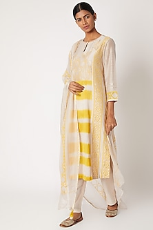 White Printed & Embroidered Kurta Set by Devnaagri-POPULAR PRODUCTS AT STORE