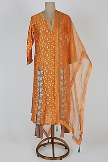Orange Embellished & Printed Kurta Set by Devnaagri