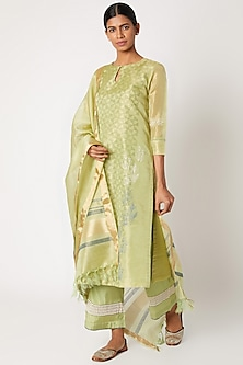 Mint Green Printed & Embroidered Kurta Set by Devnaagri-POPULAR PRODUCTS AT STORE