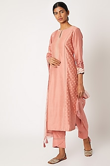 Blush Pink Block Printed Kurta Set by Devnaagri-POPULAR PRODUCTS AT STORE