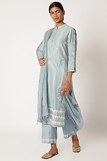 Sky Blue & Yellow Printed Kurta Set by Devnaagri-POPULAR PRODUCTS AT STORE
