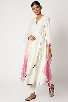 White Printed & Embroidered Anarkali Set by Devnaagri-POPULAR PRODUCTS AT STORE