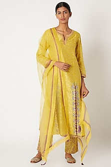 Yellow Printed & Embroidered Layered Kurta Set by Devnaagri-POPULAR PRODUCTS AT STORE