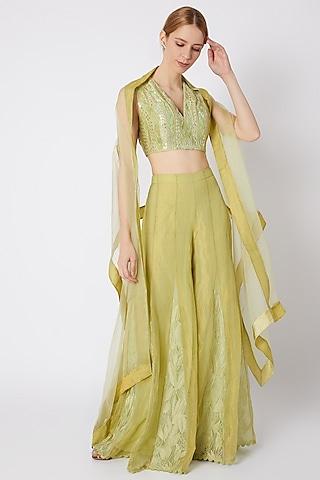 Mint Green Embroidered & Printed Sharara Set by Devnaagri