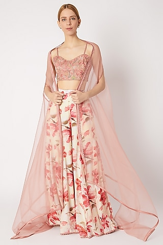 Rose Pink Embroidered & Printed Sharara Set by Devnaagri