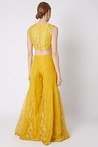 Yellow Embroidered Sharara Set by Devnaagri
