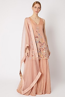 Blush Pink Embroidered Sharara Set by Devnaagri