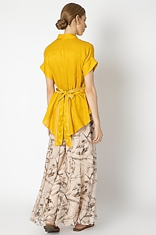 Yellow Top With Printed Sharara Pants by Devnaagri