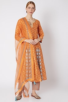 Orange Block Printed Kurta Set by Devnaagri