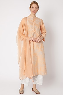 Peach Printed & Embroidered Kurta Set by Devnaagri