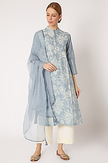 Ash Blue Printed & Embroidered Kurta Set by Devnaagri