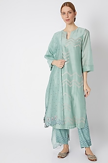 Aqua Blue Embroidered Kurta Set by Devnaagri