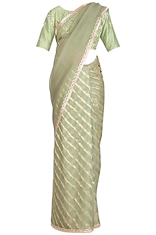 Sage Green Embroidered Leheriya Saree Set by Devnaagri