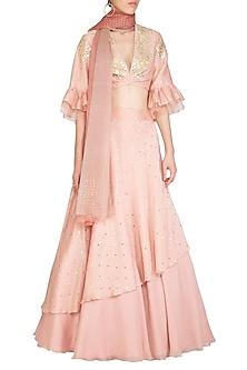 Pink Embroidered Layered Lehenga Set by Devnaagri