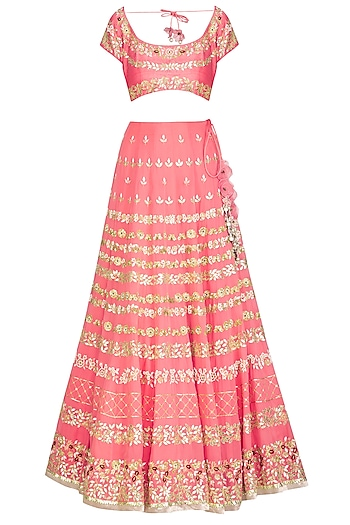 Rose PInk Embroidered Lehenga Set by Devnaagri