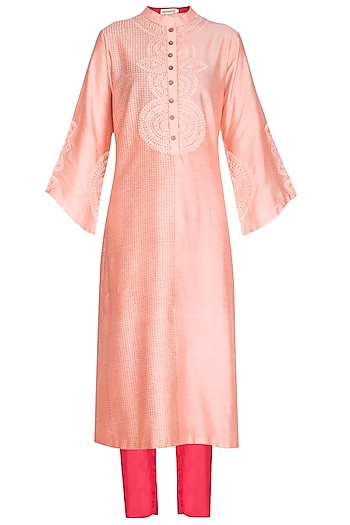 Blush Pink Embroidered & Block Printed Kurta Set by Devnaagri