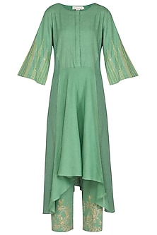 Green Embellished & Block Printed Kurta Set by Devnaagri