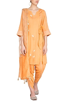 Orange Embroidered Block Printed Kurta Set by Devnaagri