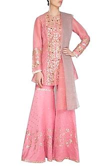 Pink Embroidered Sharara Set by Devnaagri