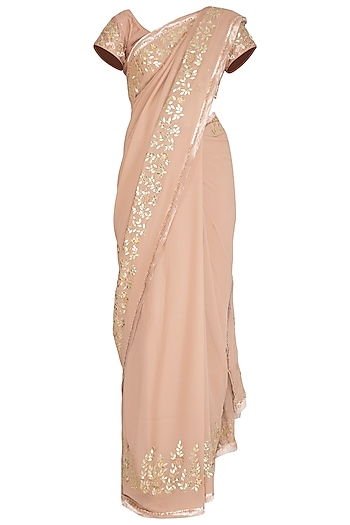 Beige Embroidered Saree Set by Devnaagri