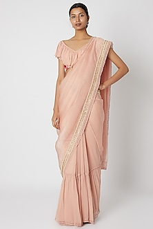 Rose Pink Embroidered Saree Set by Devnaagri