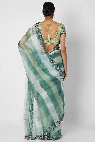 Green Tie-Dye Printed Saree Set by Devnaagri