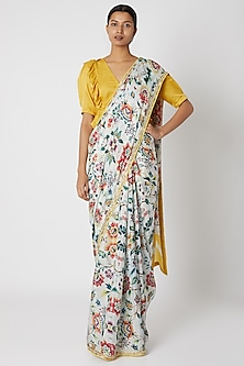 Mustard & White Floral Printed Saree Set by Devnaagri
