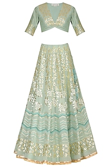 Sky Blue Embroidered Lehenga Set by Devnaagri