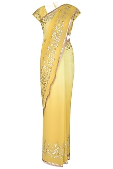 Yellow Embroidered Saree Set by Devnaagri