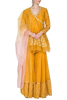 Mustard Embroidered Sharara Set by Devnaagri