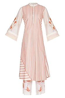 White & Pink Embroidered Printed Kurta Set by Devnaagri