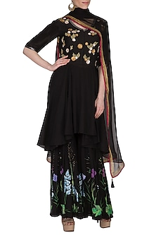 Black Embroidered & Hand Painted Sharara Set by Devnaagri