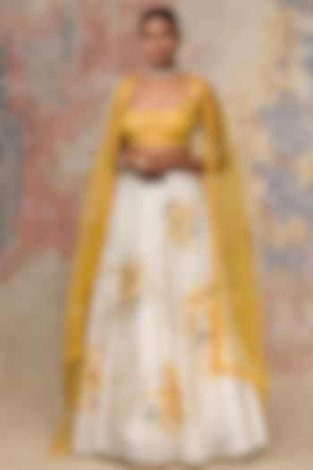 Ivory Embroidered Lehenga Set by Devnaagri