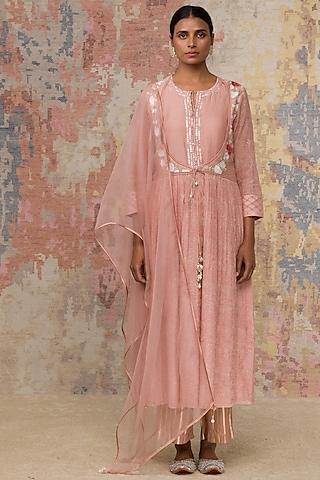Blush Pink Embroidered Anarkali Set by Devnaagri