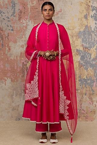 Fuchsia Anarkali Set With Pearl Detailing by Devnaagri