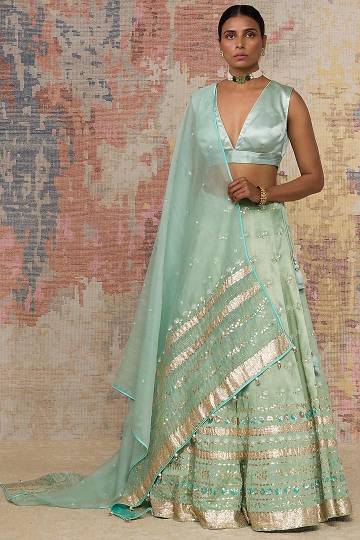 Sage Green Embroidered Lehenga Set by Devnaagri