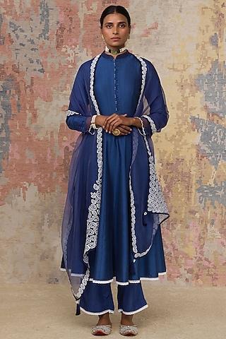Navy Blue Anarkali Set by Devnaagri