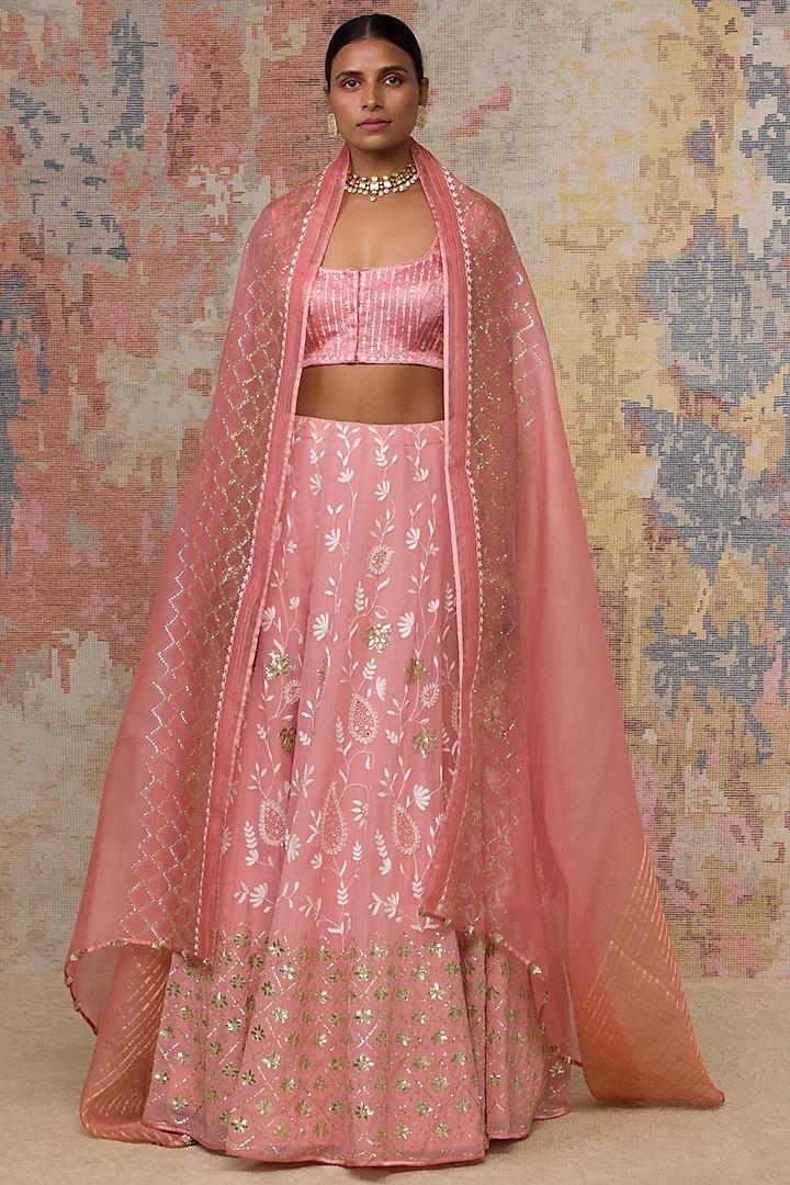 Blush Pink Embroidered Lehenga Set by Devnaagri