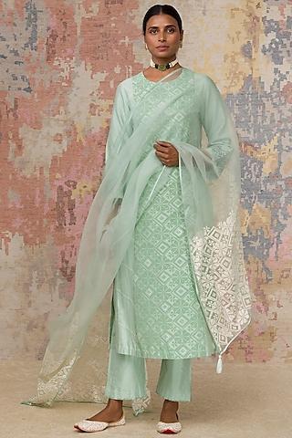 Sea Green Block Printed Kurta Set by Devnaagri