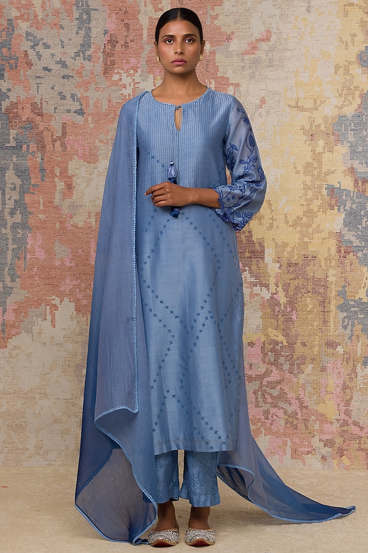 Blue Hand Block Printed Kurta Set by Devnaagri