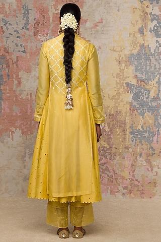 Lemon Yellow Embellished Anarkali Set by Devnaagri